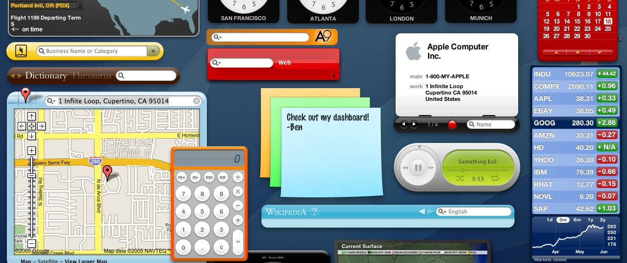 A screenshot of my OS X Tiger dashboard