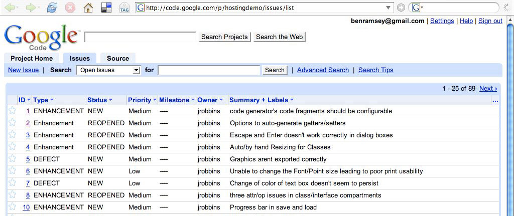 A screenshot of an example issues page on Google Code