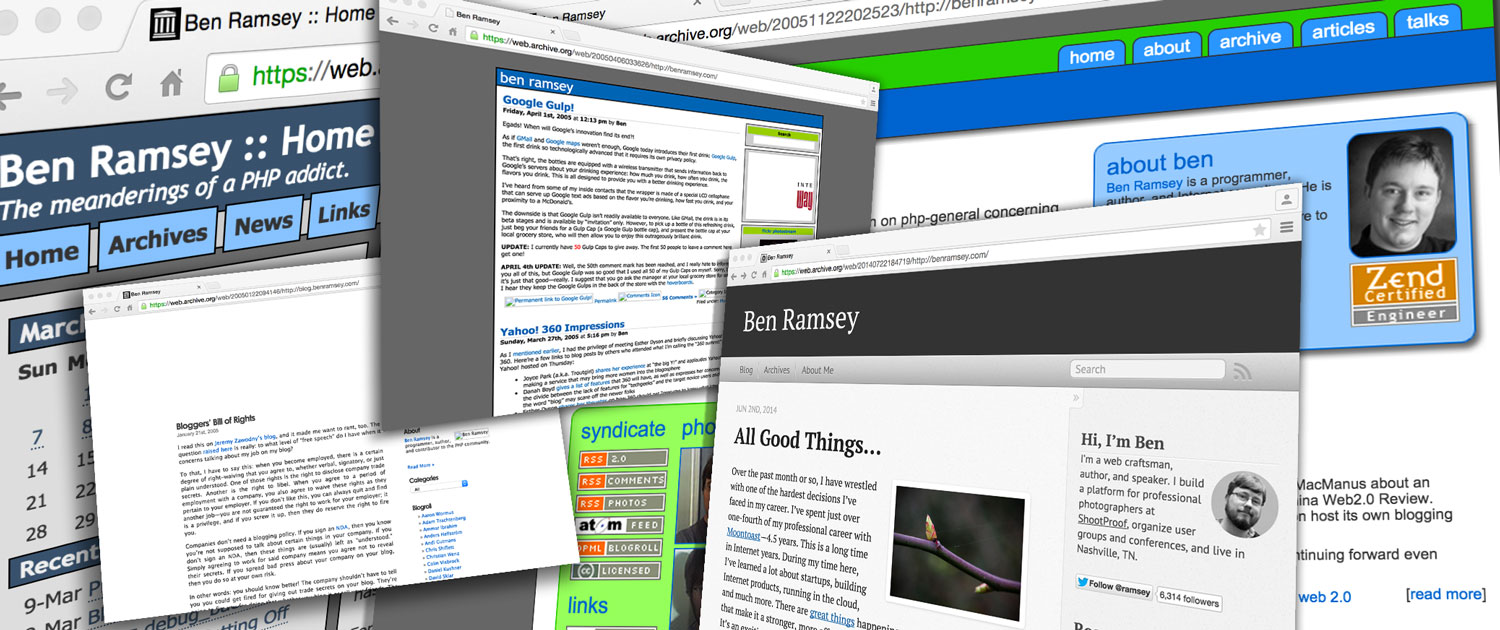 A collage of screenshots of my website through the years
